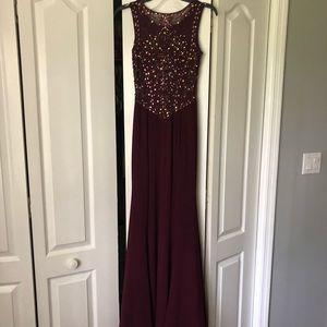 Betsy & Adam Maroon Slit formal dress